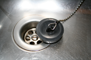 Stainless steel strainer - A sink drain cover and a plastic sink plug