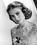 Black-an-white photo o Grace Kelly.