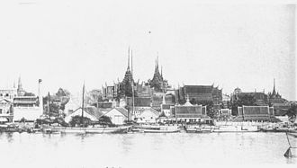 Grand Palace - The Grand Palace from across the Chao Phraya River, c. 1880