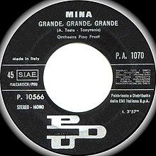 Etichetta della versione originale di Grande, grande, grande