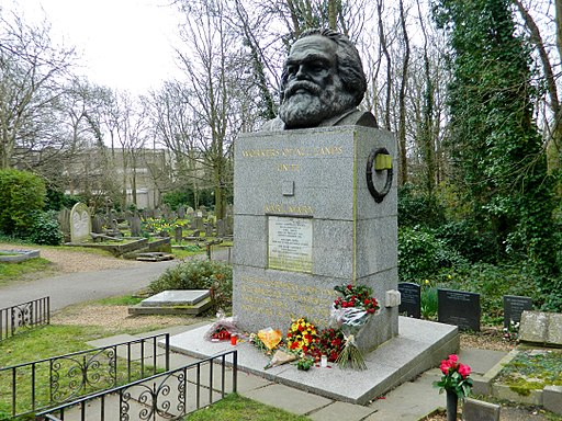 The grave of Karl Marx in Highgate Cemetery, London