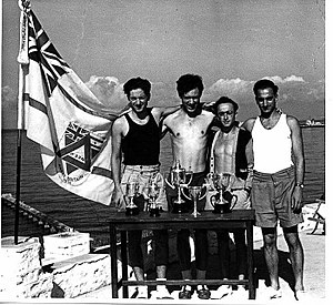 1950 Maccabiah Games - Team Great Britain members showing their trophies at the Games.