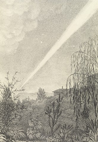 Great Comet of 1843 - A painting of the sungrazing Great Comet of 1843, as seen from Tasmania, by Mary Morton Allport