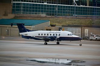 Great Lakes Airlines - A Great Lakes Beechcraft 1900D taxiing at Denver International Airport.