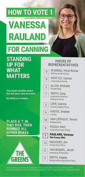How-to-vote card - A how-to-vote card from the Canning by-election, 2015, produced by the Australian Greens.