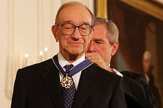 Alan Greenspan - President George W. Bush presents the Presidential Medal of Freedom to Alan Greenspan, on November 9, 2005, in the East Room of the White House.