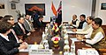 Greg Hunt meeting the Minister of State for Culture (Independent Charge), Tourism (Independent Charge) and Civil Aviation, Dr. Mahesh Sharma, in New Delhi on March 12 2015. The Secretary, Ministry of Culture.jpg