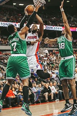 Jason Collins - Collins (right) and Celtics' teammate Jared Sullinger (left) defend Detroit's Greg Monroe