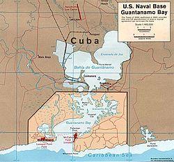 Map of Guantánamo Bay showing approximate U.S. Naval Boundaries.