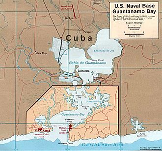 Guantanamo Bay Naval Base - Map of Guantánamo Bay showing approximate U.S. Naval Base boundaries.