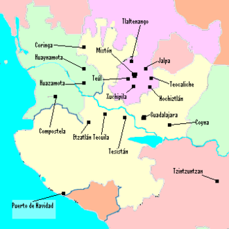Francisco Tenamaztle - The area and places involved in the Mixtón War. Tenamaztle was from Nochiztlan (Nochistlan).