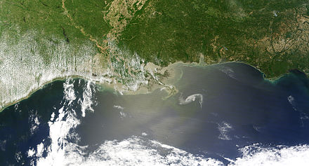 The oil slick just off the Louisiana coast on April 30, 2010. The Deepwater Horizon oil spill is now considered the biggest environmental disaster in U.S. history. Gulf Oil Spill Creeps Towards Mississippi Delta.jpg