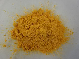 Gamboge gum resin containing a deep saffron to mustard yellow vegetable pigment