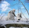 Gurkhas advancing through the snow (36578946786).png