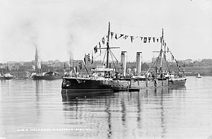 HMS Melampus (1890) - HMS Melampus in the harbour of Kingstown, Co. Dublin