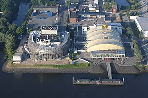 Stage Entertainment - Two theatres owned by Stage Entertainment in Hamburg. Stage Theater im Hafen (right) and the Stage Theater an der Elbe, which opened in 2014 (left)
