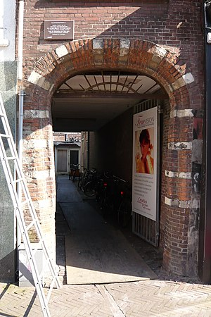 Haarlem Guild of St. Luke - Doorway to the original monastery of the Carmelites and the Vrouwebroerskerk. Called the Guldenbergspoortje or Golden mountain gate in the Grote Houtstraat.