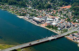 Hadsund - Image: Hadsund Havn fra luften