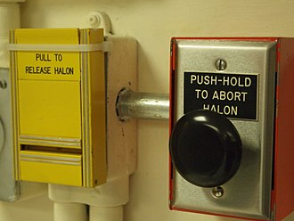 Halomethane - Halon-based fire extinguishing system inside Diefenbunker, a nuclear fallout bunker in Canada.