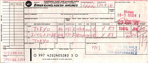 Airline ticket - A handwritten flight coupon for Biman Bangladesh Airlines