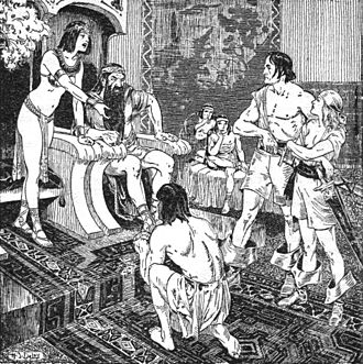 Valeria (Conan the Barbarian) - Interior illustration from Weird Tales (August–September 1936).  It depicts Valeria standing on the far right, beside Conan.  Art by Harold Saylor De Lay.