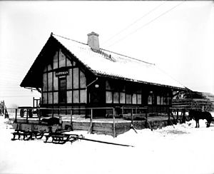 Harriman (Erie Railroad station) - The brand new Harriman station depot, as seen in 1911 in a photograph by James E. Bailey, the Erie's official photographer and dispatcher from Meadville, Pennsylvania.