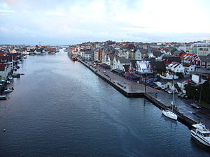 Haugesund - View of Smedasundet and parts of central Haugesund