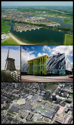 Images from top, left to right: Stad van de Zon, Veenhuizer wind mill, Cool theatre, shopping centre Middenwaard.