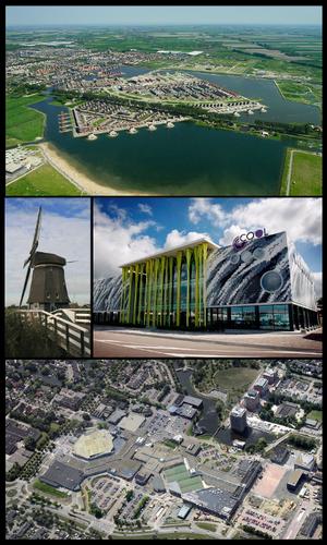 Heerhugowaard - Images from top, left to right: Stad van de Zon, Veenhuizer wind mill, Cool theatre, shopping centre Middenwaard.