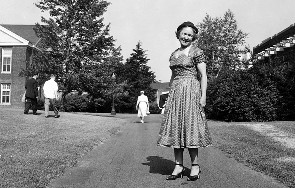 Helen Hayes MacArthur on the grounds of Helen Hayes Hospital in the 1950s
