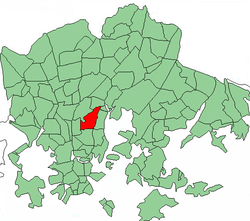 Position of Kumpula within Helsinki