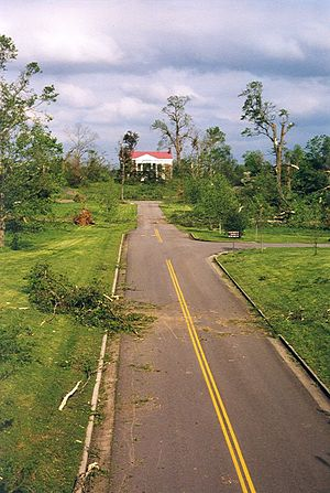 Tornado outbreak of April 15–16, 1998 - Tornado Damage near the Tulip Grove Mansion, part of The Hermitage