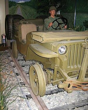 U.S. Army Transportation Museum - rail jeep diorama at the US Army Transportation Museum.