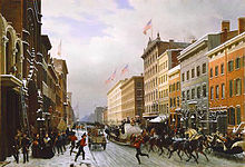 A painting of a snowy city street with horse-drawn sleds and a 19th-century fire truck under blue sky