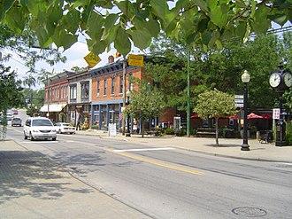 Loveland, Ohio - Downtown Loveland at the Loveland Bike Trail crossing. Seen here is Loveland Avenue, originally named Jackson Street.