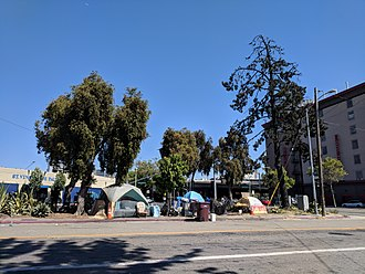 California housing shortage - A tent city, a form of improvised housing, in Oakland, California