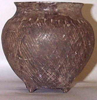 Hopewell pottery - Hopewell jar from Hopewell Culture National Historical Park. Dated to ca. 1-350 CE, it may have been imported from the southern Appalachian or Gulf Coastal Plain area.