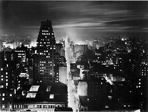 Avenida Corrientes - City lights along Corrientes Avenue shortly before its widening in the 1930s.