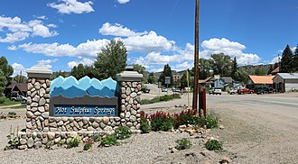 Hot Sulphur Springs, Colorado - The welcome sign at the west end of town on Byers Avenue.