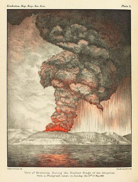 Letusan Krakatau yang terjadi pada 1883. Sumber: Wikipedia