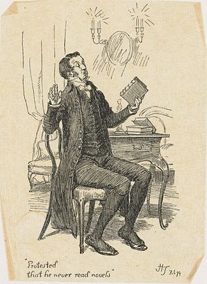Pride and Prejudice - Illustration by Hugh Thomson representing Mr. Collins, protesting that he never reads novels