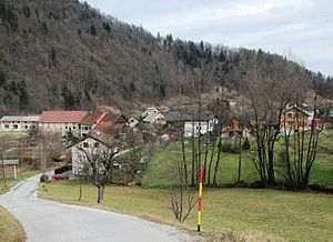 Hruševo - View of Hruševo from the south, showing the hamlet of Log