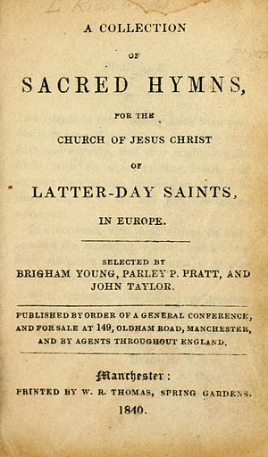 The Church of Jesus Christ of Latter-day Saints hymns - Title page of Collection of Sacred Hymns, 1840.