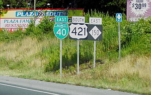 Interstate 40 Business (North Carolina) - Image: I 40 BUS, US 421, NC 150