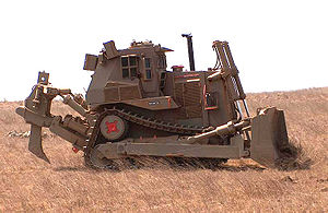 Battle of Jenin - An IDF Caterpillar D9L armored bulldozer.