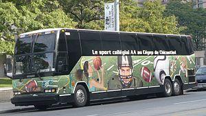 Intercar - Wrapped coach advertising the sports programs of the Cégep de Chicoutmi
