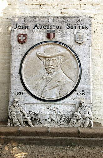 Sutter's Fort - John Sutter plaque at Sutter's Fort