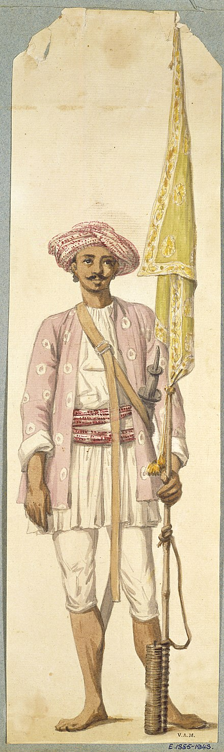 A soldier from Tipu Sultan's army, using his rocket as a flagstaff. Indian soldier of Tipu Sultan's army.jpg