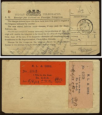 Telecommunications in India - Indian telegraph receipt 1912 (front top and back bottom) with additional labels.