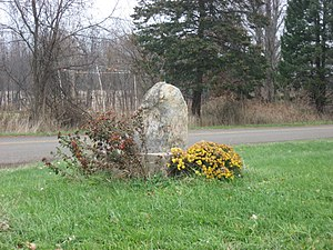 Warren Township, St. Joseph County, Indiana - Monument on Redwood Road at the Michigan border
